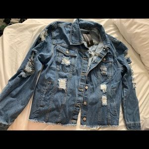 PLT plus size distressed oversized jean jacket